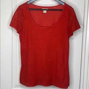 Lucky Brand coral lace front shirt